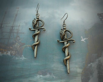 Sword and snake earrings, cobra and cutlass, oxidized silver plated, antique silver, tattoo inspired, goth earrings, biker, pirate, cosplay