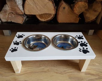 Pet feeder with  2 Bowls for cat or small dog