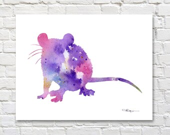 Rat- Art Print - Abstract Watercolor Painting - Wall Decor