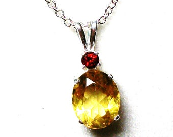 """canary copal, canary copal necklace, yellow copal, garnet copal, 2 stone necklace, """"Cats in the cradle"""""""