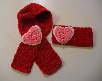 Crochet; child size; scarf; earwarmer; headband; red; pink; white; heart