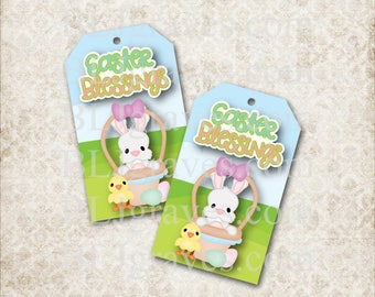 Printable Easter Blessings Bunny Basket Gift Tags Party Favor Treat Bag Tags T018