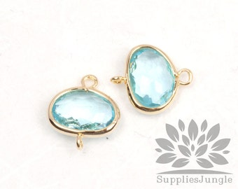 F130-G-IB// Gold Framed Ice Blue Glass Stone Connector, 2 pcs