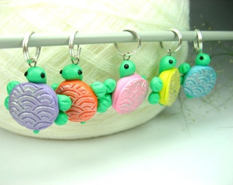 Pastel Turtle Stitch Markers, knitting accessories knit turtle charms gifts for knitters polymer clay miniature animal sea creature cute