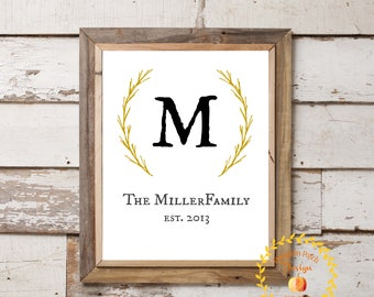 Family Initial Farmhouse Sign Wall Art Established Date 11x14
