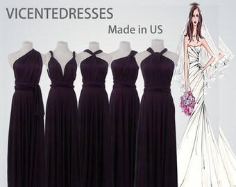 Long bridesmaid dress Eggplant infinity bridesmaid dress long infinity dress Dark purple bridesmaid convertible wrap dress prom dress