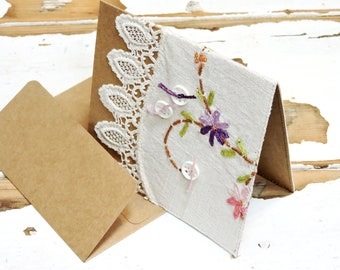 Fabric Greeting Card, Feminine Wedding Birthday Mothers Day Baby Shower Notecard, Upcycled Dresser Scarf, Original Stationery itsyourcountry
