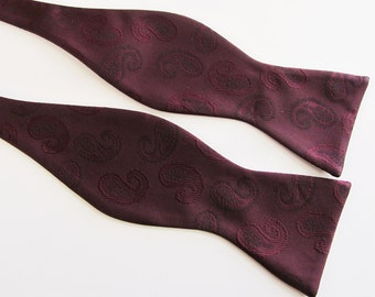 Free Style Mens Bow Ties Burgundy Paisley Self Tie Bowties