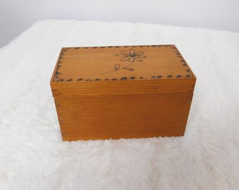 Vintage Wood Recipe Box or Gift Box with Velvet Lining and Flower on Top CB1
