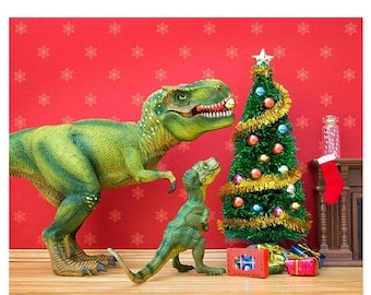 35% OFF SALE Funny Christmas dinosaur decor - The Holly and the T. Rex