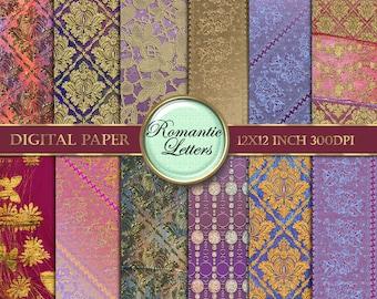 Gold damask digital paper pack digital scrapbook album paper digital paper vintage digital scrapbooking paper digital download gold lace