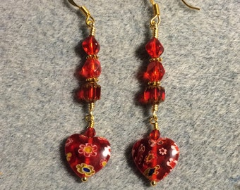Red millefiori heart bead dangle earrings adorned with red Czech glass beads.