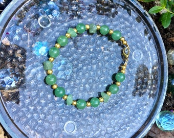 Green Aventurine and Gold 8mm Single Strand Bracelet