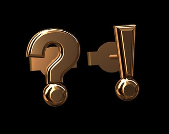 Question Mark Earrings, Gold Stud Earrings, Post And Push Back Gold Earrings, Exclamation Point Earrings