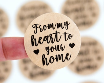 Packaging Stickers - Happy Mail Stickers - From my Heart to your Home - Small Business Packaging - 1.5 inch Circle - 30 Pieces
