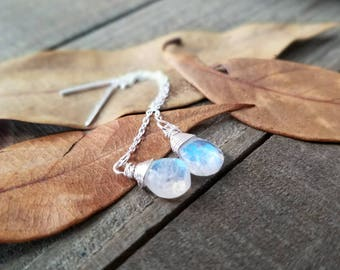 Rainbow moonstone earrings - ear threaders - threader earrings - silver chain earrings - rainbow moonstone jewelry - silver ear threads