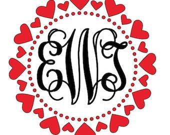 Valentine Hearts Monogram Decal