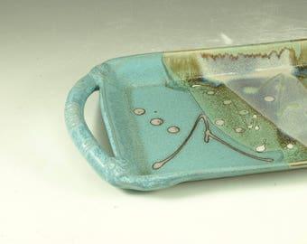 Rectangular serving tray - handmade pottery