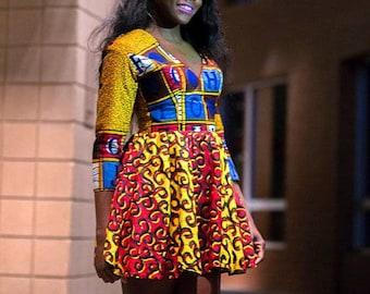 Letta (Mustard) Mini Deep V-neck Dress