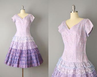 SALE: 50s Dress // 1950's Pale Purple Ombre Lace Dress w/ Tiered Skirt // M-L