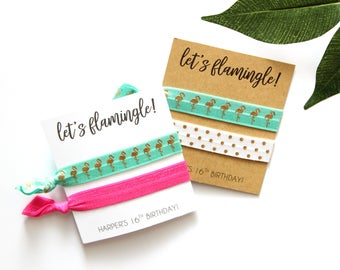 Let's Flamingle Personalized Hair Tie Favor   Bachelorette Party Favor  Birthday Favor   Let's Flamingle   Flamingo Hair Ties   Flamingos