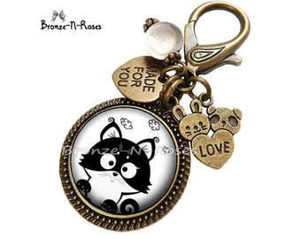 """Bag charm """"little black and white cat funny"""" fantasy glass cabochon bronze jewelry"""