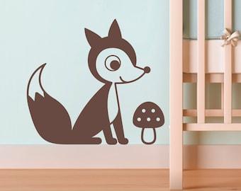 Fox Wall Decal Sticker Woodland Baby Nursery Kids Children Animal Forest Room Decor
