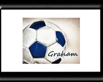 Name Wall Decor-Personalized Soccer Art-Customized Soccer Print-Soccer Photo-Sports Decor-Art Print-Girls Room Decor-Boys Room Wall Art