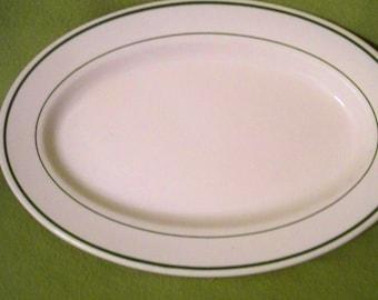 Vintage Buffalo China Green Band Oval Serving Platter - Restaurant Ware - Diner Ware - Ironstone Platter