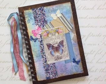 NOTEBOOK, journal, sketchbook . A5 .  ' Papillon Bleu' . OOAK . MIxed media . UK seller...Ready to ship......