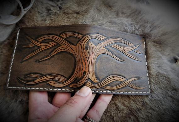 Viking Leather Wallet - Yggdrasil Bifold Wallet - Tree of Life Wallet