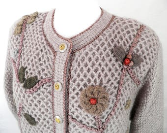 Vintage Ladies Wool and Mohair Embroidered Cardigan Jacket by Creor  French Chic  Size XL