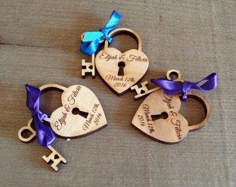140 Heart and Skeleton Key Wedding Favors Love Lock Custom