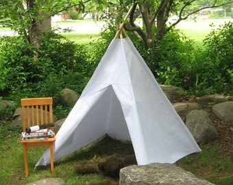 Canvas Teepee, White or Choose from Several Colors, Two Sizes, Can Include Window, Kids Play Tent, Tee Pee, Childrens Teepee, Playhouse