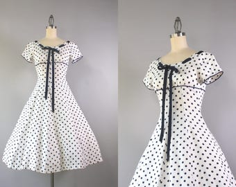 1950s Dress / Vintage 50s Polka Dot Linen Dress / 50s Bow Neck Full Skirt Dotted Dress with Matching Linen Coat XAXS extra small