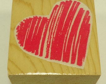 Scribble Heart Wood Mounted Rubber Stamp