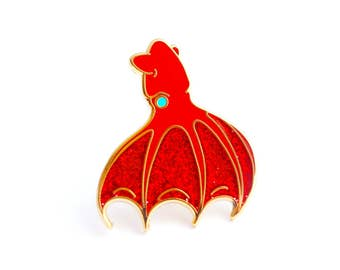 Vampire Squid Enamel Pin (hard enamel pin cute squid pin lapel pin badge squid jewelry cephalopod deep sea octopus cloisonne backpack pins)