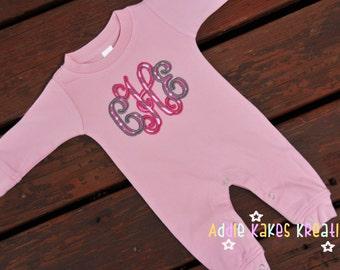 Baby Girl Sleeper with Fancy Monogram - Vine Monogram - Personalized Baby Sleeper - Baby Girl Shower Gift - Infant Sleeper - Monogram