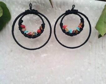 Double Hoop Stone Earrings