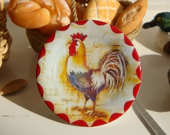 Vintage Country Red Rooster Dollhouse Miniature Plate 1:12 Scale