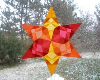 Orange Gold and Red Origami Window Star with Six Folded Points