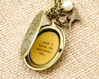 Sparrow Women's Locket - His eye is on the sparrow and I know He watches me - Christian Jewelry - Faith Locket - Encouragement
