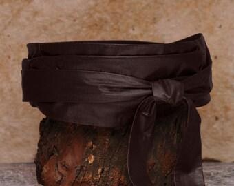 Dark Chocolate brown obi belt, brown sash belt  - Sash-a