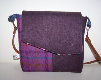 Harris tweed and purple tartan satchel. Purple tweed, pink tartan satchel, handbag.  birthday gift, anniversary gift, gift for her