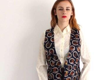 equestrian vest . vintage horse horseshoe vest . 90s novelty print vest . womens vest . medium / large, horse waistcoat
