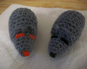 2 Hand crocheted catnip mice. 4 inches long not including the tail