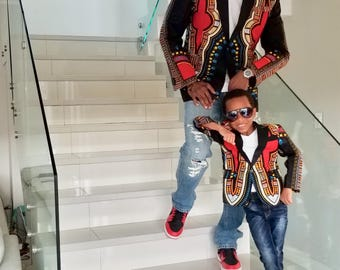 African clothing, Ankara Father and Son Blazer, African Jacket, men Blazer/Jacket, African Men Suit/Blazer, African fashion,  Men's Jacket