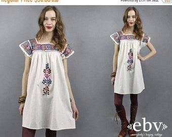 Robe blanche Oaxaca Mexique brodé robe robe Festival Hippie robe Boho robe des années 70 robe robe bohème des années 1970 tente d'été robe S M L