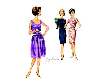 60s Guy Laroche Dress Pattern Vintage Vogue Paris Original 1058, Sleeveless Couture Party Dress with Slim or Gathered Skirt