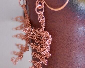 Fern Earrings - 3D wire crochet earrings wearable art jewelry OOAK crochet pure copper wire stylized modern fern leaves fall autumn earrings